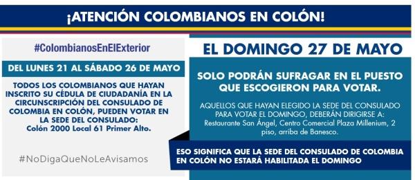 ¡Atención colombianos en Colón, Panamá!