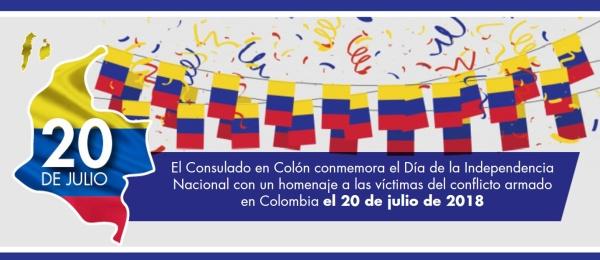 El Consulado en Colón conmemora el Día de la Independencia Nacional con un homenaje a las víctimas del conflicto armado en Colombia, el 20 de julio de 2018