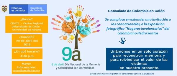 """Consulado en Colón invita a la exposición fotográfica """"Hogares involuntarios"""" con motivo del Día Nacional de la Memoria y la Solidaridad con las Víctimas"""