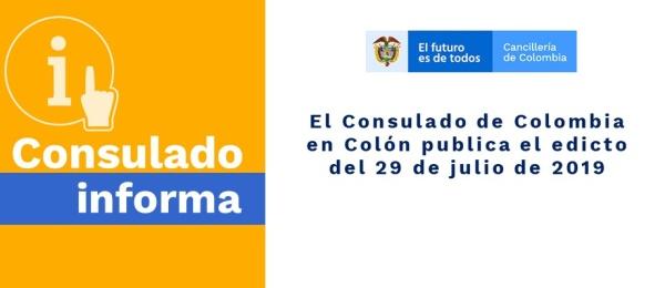 El Consulado de Colombia en Colón publica el edicto del 29 de julio